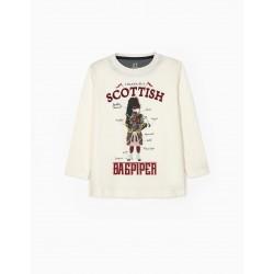 BOY'S LONG SLEEVE T-SHIRT 'BAGPIPER', WHITE