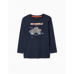 LONG SLEEVE T-SHIRT FOR BOYS 'BIG WHEELS', DARK BLUE
