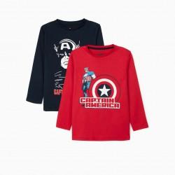 2 'CAPTAIN AMERICA' BOY LONG SLEEVE T-SHIRTS, RED/DARK BLUE