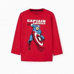 'CAPTAIN AMERICA' BOY'S LONG SLEEVE T-SHIRT, RED