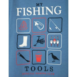 T-SHIRT FOR BOYS, 'MY FISHING TOOLS', BLUE