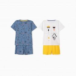 2 PAJAMAS FOR BOYS 'SEAGULLS', WHITE / BLUE / YELLOW