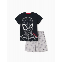 BOYS 'SPIDER-MAN' PAJAMA, DARK BLUE / GRAY