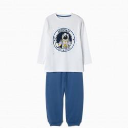ASTRONAUT BOY PAJAMAS, WHITE AND BLUE