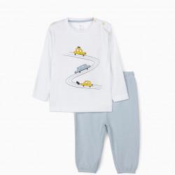 BABY BOY PAJAMAS 'CARS', WHITE/BLUE