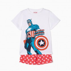 CAPTAIN AMERICA PAJAMAS FOR BOYS, WHITE AND RED