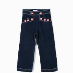 WIDE JEANS FOR GIRLS WITH BUTTONS, BLUE
