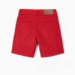 BOYS' TWILL SHORTS, RED