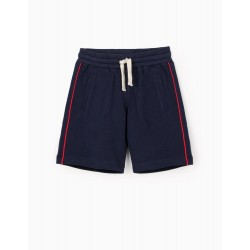 PIQUÉ KNITTED SPORTS SHORTS FOR BOYS, DARK BLUE
