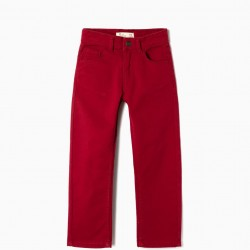 REGULAR FIT TWILL PANTS FOR BOYS, BURGUNDY