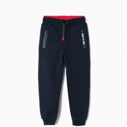 'KEEP IT FUN' TRAINING PANTS FOR BOYS, DARK BLUE
