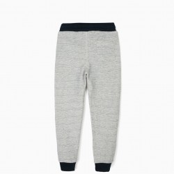 TRACKSUIT PANT FOR BOYS 'FLYWORLD', BEIGE AND BLUE