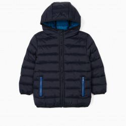 QUILTED JACKET WITH HOOD FOR BOYS, DARK BLUE
