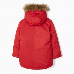 HOODED PARKA FOR BOYS, RED