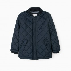 BOY'S PADDED JACKET WITH REMOVABLE HOOD, DARK BLUE