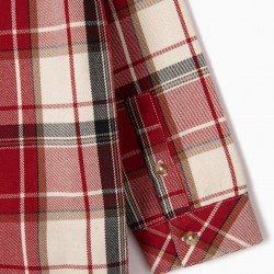 B&S' PLAID SHIRT FOR BOY, RED / WHITE