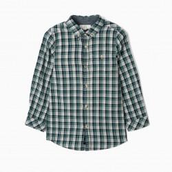 BOY'S PLAID SHIRT, BLUE / GREEN