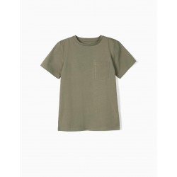 T-SHIRT WITH POCKET FOR BOYS IN ORGANIC COTTON, GREEN