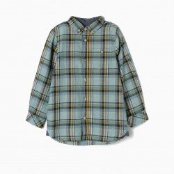 'B&S' PLAID SHIRT FOR BOYS, AQUA GREEN