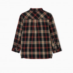 B&S' PLAID SHIRT FOR BOYS, BLUE / GREEN