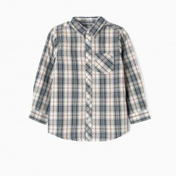 LONG SLEEVE SHIRT FOR BOY 'CHECKERED', GREEN AND WHITE
