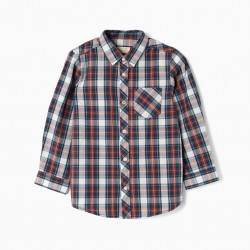 LONG SLEEVE SHIRT FOR BOY 'PLAID', BLUE