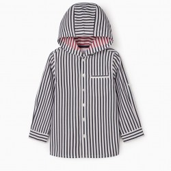 BOY'S STRIPED HOODED SHIRT, BLUE / WHITE / RED