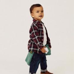 CHECKERED SHIRT AND T-SHIRT FOR  BOY, BURGUNDY/WHITE