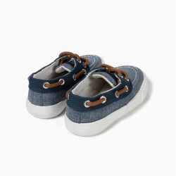 BABY BOY'S KNIT SLIPPERS, BLUE