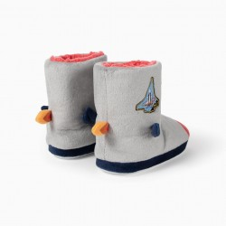 INDOOR ASTRONAUT BOOT SLIPPERS FOR BOY, GRAY