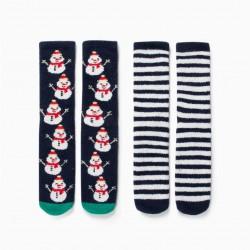 2 PAIRS NON-SLIP SOCKS FOR CHILDREN 'CHRISTMAS', BLUE / WHITE