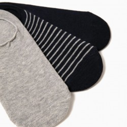PACK 3 BLUE AND GRAY INVISIBLE SOCKS
