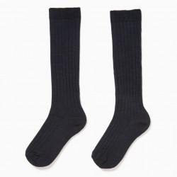 2 PAIRS HIGH RIBBED SOCKS FOR BOYS, DARK BLUE