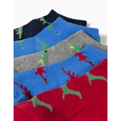 5 PAIRS OF ANKLE SOCKS FOR BOYS, 'DINO', MULTICOLOURED