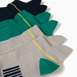 3 PAIRS OF SPORTS SOCKS FOR BOYS, MULTICOLOR