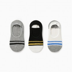 3 PAIRS OF INVISIBLE SOCKS FOR BOYS, MULTICOLOURED