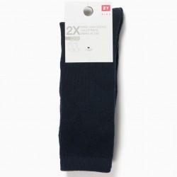 2 PAIRS OF HIGH SOCKS FOR BOYS, DARK BLUE