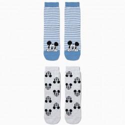 PACK 2 ANTI-SLIP SOCKS FOR BOYS 'MICKEY', BLUE AND GRAY