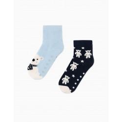 2 PAIRS OF 'WINTER' BOY'S ANTI-SLIP SOCKS, BLUE