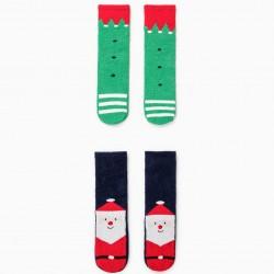 2 PAIRS ANTI-SLIP SOCKS FOR CHILDREN 'CHRISTMAS', GREEN / BLUE