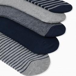 5 PAIRS OF BOY'S SOCKS, GREY/BLUE