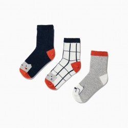 3 PAIRS OF SOCKS FOR BOYS 'ANIMALS', MULTICOLOR