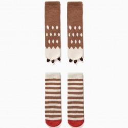 2 ANTI-SLIP SOCKS FOR BOY 'BEAR', BROWN