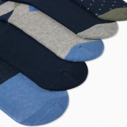 5 PAIRS OF BOY'S SOCKS, GREY/BLUE/GREEN