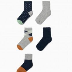 5 PAIRS OF SOCKS FOR BOYS 'DOTS & STRIPES', MULTICOLOR
