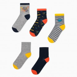 5 PAIRS OF 'STRIPES & PLANETS' BOY SOCKS, MULTICOLOR