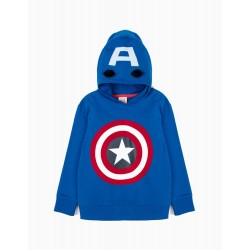 'CAPTAIN AMERICA' MASK HOODED BOY SWEATSHIRT, BLUE
