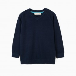KNITTED SWEATER FOR BOYS, DARK BLUE