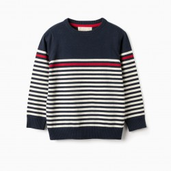 KNITTED SWEATER FOR BOYS 'STRIPES', DARK BLUE