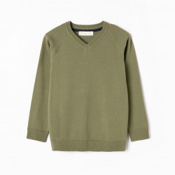 BOY'S KNITTED SWEATER, GREEN